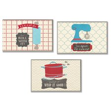 Home Décor Roll, Spin and Whip Kitchen Utility Trio 3 Piece Graphic Art Plaque Set