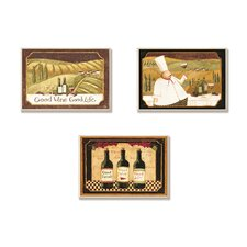 Home Décor Good Friends, Wine and Life Kitchen Trio 3 Piece Graphic Art Plaque Set