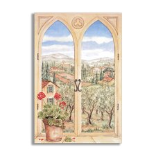 Tuscany Faux Window Scene Painting Print Plaque