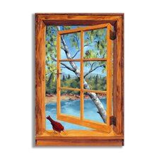 Cabin and Cardinal Wooden Faux Window Scene Painting Print Plaque