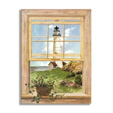 New England Light Wooden Faux Window Scene Painting Print Plaque