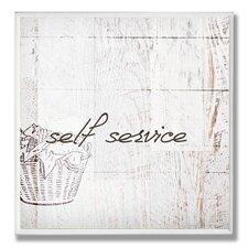 Home Décor Self Service Laundry Bath Graphic Art Plaque