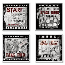 Home Décor Squares Cinematic Expressions 4 Piece Textual Art Set (Set of 4)