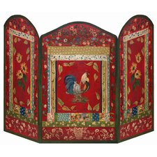 Red Rooster 3 Panel MDF Fireplace Screen