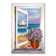 <strong>Stupell Industries</strong> Seascape with Petunias Wooden Faux Window Scene