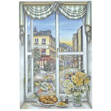 <strong>Stupell Industries</strong> Paris Flower Market Wooden Faux Window Scene