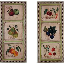 Oversized Assorted Fruits in Squares Kitchen 2 Piece Painting Print Plaque Set