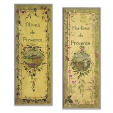 Oversized Olives and Herbes De Provence Kitchen 2 Piece Painting Print Plaque Set