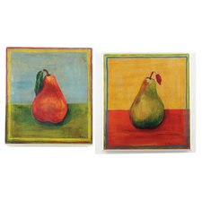 Oversized Red and Green Pears Kitchen 2 Piece Painting Print Plaque Set