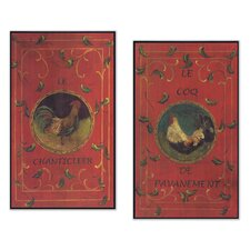 Oversized French Red Roosters Kitchen Painting Print Plaque (Set of 2)
