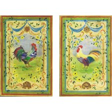 Oversized Rainbow Roosters Kitchen 2 Piece Painting Print Plaque Set