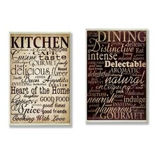 Dining and Kitchen 2 Piece Textual Art Plaque Set