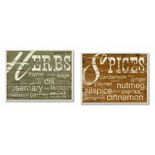 Herbs and Spices Kitchen Wall Plaques (Set of 2)