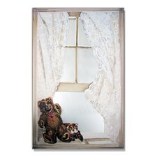 <strong>Stupell Industries</strong> Faux Window Mirror Screen with Teddy Bear