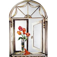 Faux Window Mirror Screen with Tulips and Tassel Painting Print