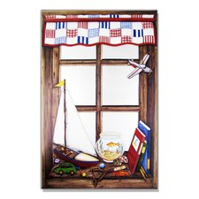 Faux Window Mirror Screen with Plane and Fish Bowl Painting Print