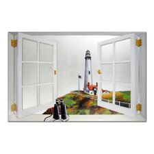 Faux Window Mirror Screen with Pigeon Pointe Lighthouse Painting Print