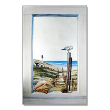Faux Window Mirror Screen with Seagull Painting Print
