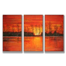 Home Décor Autumn Sunset Triptych 3 Piece Painting Print Set