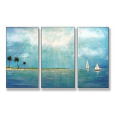 Home Décor Azure Breeze Triptych 3 Piece Painting Print Set
