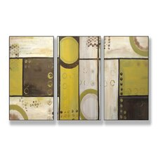 Home Décor Industrial Circles Triptych 3 Piece Painting Print Set
