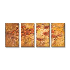 Home Décor Fall Wind Scene Quadtych 4 Piece Painting Print Set