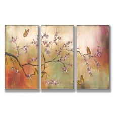 Home Décor Pink Blossoms and Butterflies 3 Piece Art Set