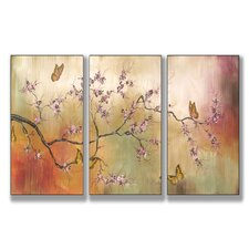 Home Décor Pink Blossoms and Butterflies Triptych 3 Piece Painting Print Set
