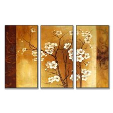 Home Décor Floral Crimson Back Triptych 3 Piece Painting Print Set