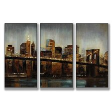Home Décor Lights on Bridge Triptych 3 Piece Painting Print Set