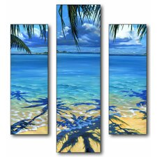 Home Décor Palm Tree Shadows Triptych 3 Piece Painting Print Set