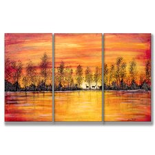 Home Décor Deer at Sunset 3 Piece Painting Print Set