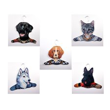 Animal Beagle / Gray Cat / Black Lab / Husky / Scottie Clothing Hanger (Set of 5)