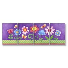 4 Piece Kids Room Triptychs Floral Hanging Art Set