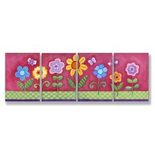 Kids Room Triptychs Floral Hanging Art (Set of 4)
