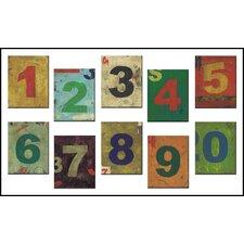 10 Piece Kids Room Distress Number Hanging Art Set