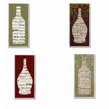 Home Décor Typography Wine Bottle 4 Piece Textual Art Plaque Set (Set of 4)