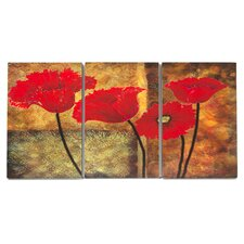 Home Décor Poppies on Spice Triptych 3 Piece Painting Print Set
