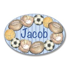 Kids Room Personalization Stripe Sport Wall Plaque