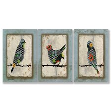 Home Décor Song Bird Trio Triptych Art