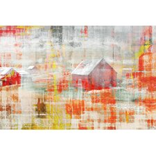 Red Barn Graphic Art on Canvas