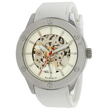 Women's Addison Mechanical See-Through Watch in White