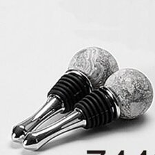 Byzantine Round Top / Round Bottom Marble Wine Bottle Stoppers (Set of 2)