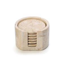 The Byzantine 7 Piece Marble Coaster Set in Champagne