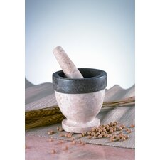 The Byzantine Two Tone Marble Mortar and Pestle in Charcoal / Champagne