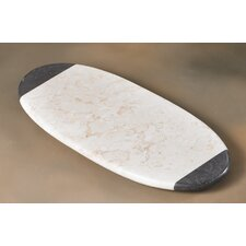 The Byzantine Two Tone Marble Oval Board in Charcoal / Champagne