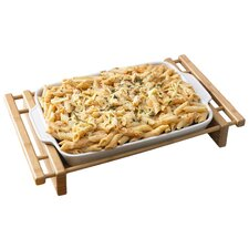 "<strong>Creative Home</strong> Bamboo and Stoneware Grand Buffet 13"" x 9"" Lasagna/Roaster Bakeware Dish"