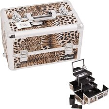 <strong>Sunrise Cases</strong> Leopard Pattern Interchangeable Professional Cosmetic Makeup Train Case