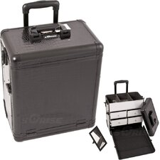Crocodile Pattern Interchangeable Professional Rolling Makeup Train Case