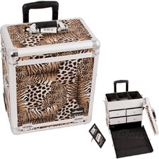 <strong>Sunrise Cases</strong> Leopard Pattern Interchangeable Professional Rolling Makeup Train Case